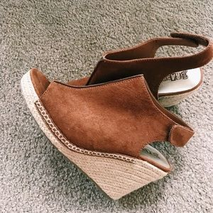 Brand New Wedge Shoes. Worn twice.  Brown suede.